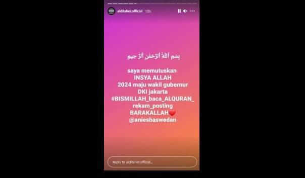 Aldi Taher Berencana Menyalonkan Jadi Wagub DKI Jakarta 2024