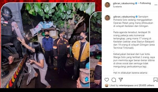 Tangkapan layar Instagram Wali Kota Solo Gibran Rakabuming Raka (kiri) saat ikut dalam razia PSK di Kota Solo pada Sabtu malam (27/2/2021). (Sumber: Akun Instagram @gibran_rakabuming)
