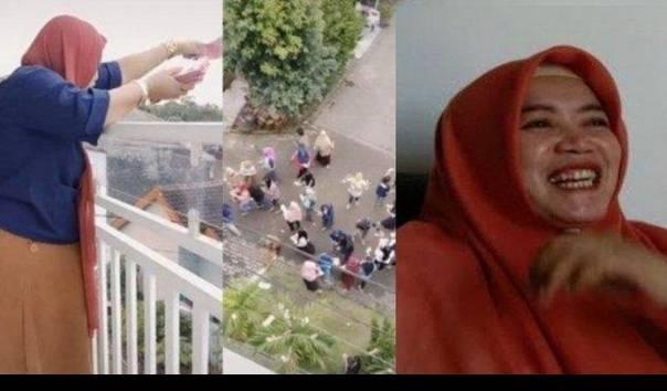 Mutoharoh, wanita yang viral bagi-bagi Rp 100 juta dari balkon rumahnya. (Sumber: TikTok @ayangyasmin / Kompas.com)