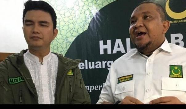 Aldi Taher dan Sekretaris Jenderal Partai Bulan Bintang, Afriansyah Noer dalam acara halal bihalal di kantor pusat DPP di kawasan Pasar Minggu, Jakarta Selatan pada Sabtu (5/6/2021)